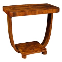 20th Century Walnut Wood Italian Art Deco Style Side Table, 1970