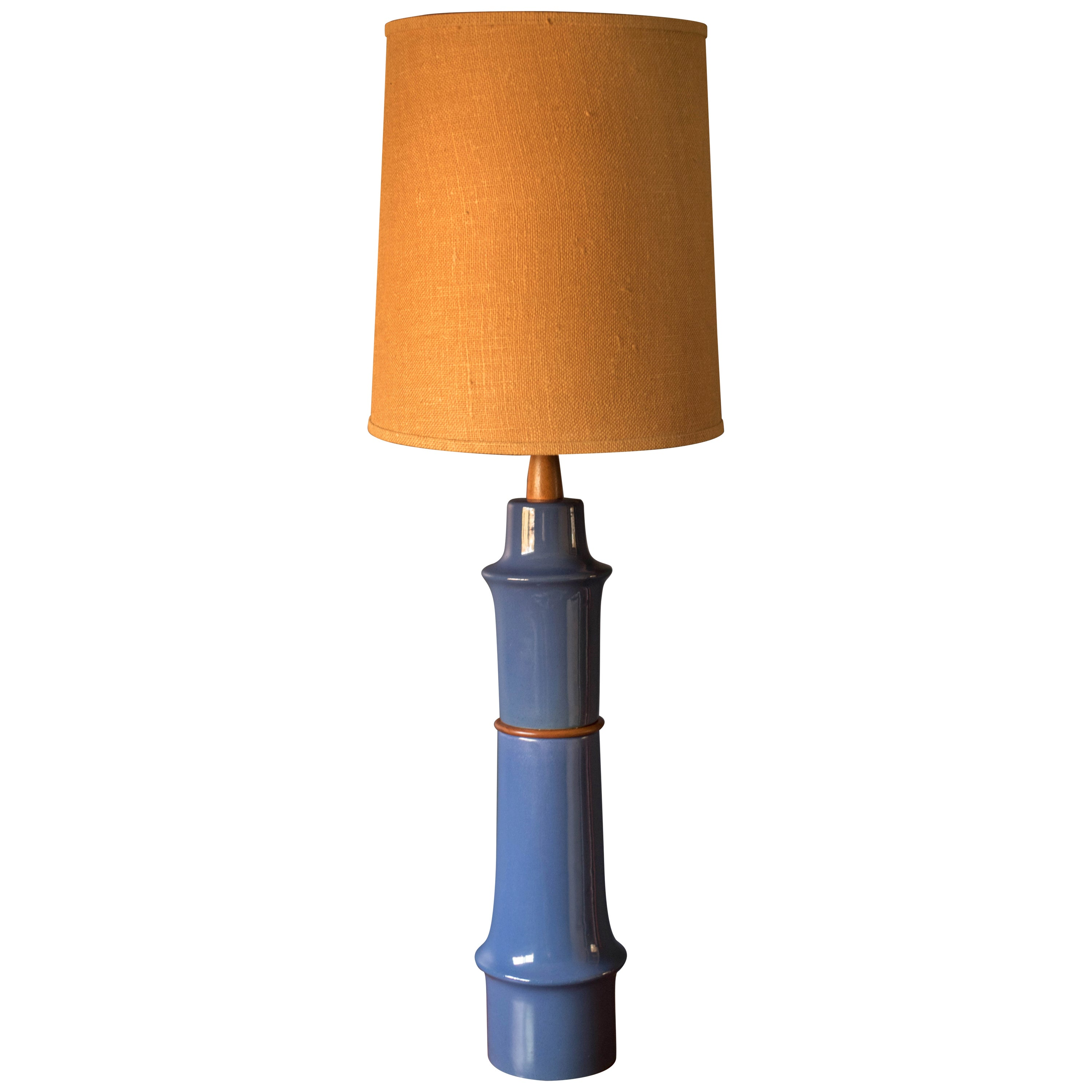 Mid Century Blue Stoneware Table Lamp by Martz