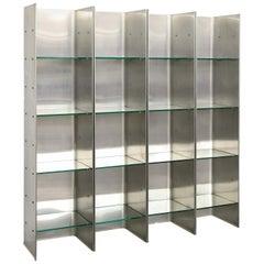 Minimalist Postmodern Steel Bookcase by Venosta and Zimmerman for Arflex, 1971