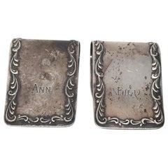 """S. Kirk & Son Sterling Silver #27 Napkin Holder Set of 2, Monogram """"ANN""""/""""BILL"""""""