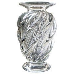 Baccarat Early 20th Century, Crystal Vase with Twisted Flutes, 1920s