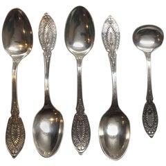 Antique John Polhamus Sterling Silver 4 Coffee Spoons & Master Salt Spoon, 1874