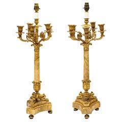 Vintage Pair of Corinthian Column Table Lamps Candelabra, 20th Century