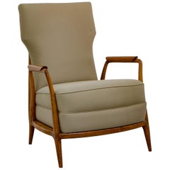 Pair of Armchairs in Tropical Wood, by Giuseppe Scapinelly, Mid-Century Modern