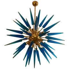 Italian Blu Murano Glass Sputnik Chandelier Brass Structure, 1970s
