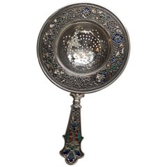 David Andersen Norway Vintage Sterling Silver Champlevé Enamel Tea Strainer