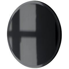 Beveled Black Tinted Orbis™ Round Mirror Frameless Faux Leather Backing, Regular