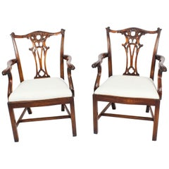 Vintage Pair of Mahogany Chippendale Revival Armchairs, Mid-20th Century