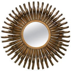 Decorative Mid-Century Modern Sunburst Gilt Metal Wall Mirror, France, 1960s
