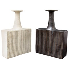 Pair of Ceramic Vases with Line Motif by Bruno Gambone, Black and White