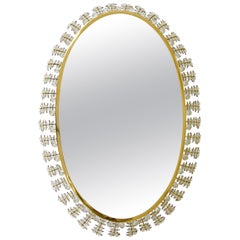 Lobmeyr Oval Gilt Brass and Crystals Backlit Modernist Wall Mirror, Austria