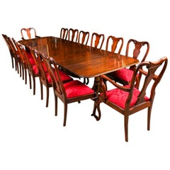 Dining Table by William Tillman, Harrods & 14 Queen Anne Chairs, 20th Century