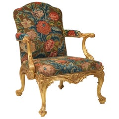 Important Pair of George II Giltwood Armchairs, circa 1755