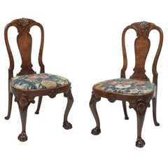 Pair of George II Burr Walnut Side Chairs