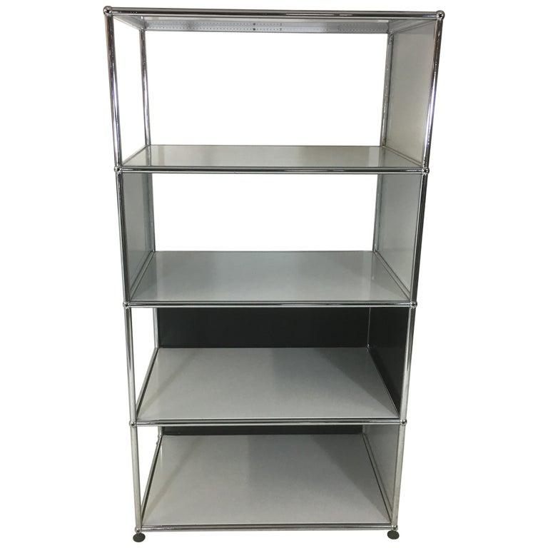 Usm Haller Storage Unit White, Grey and Stainless Steel Designed by Fritz Haller
