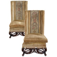 Pair of 18th Century Style Walnut Chairs in the Style of William & Mary