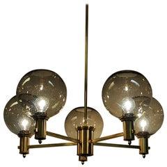 Brass Ceiling Lamp with Five Smokey Glassdomes 1960s, Scandinavia
