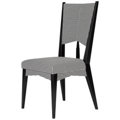Contemporary Chair in Black and White Dedar Fabric Embroidered with Rose