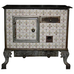 Antique French Tiled Stove, Cast-Iron, circa 1890