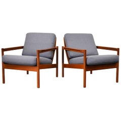 Vintage Kai Kristiansen Teak Lounge Chairs, Set of 2