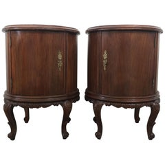 Pair of Round Art Deco Walnut Nightstands with Door and One Hidden Drawer