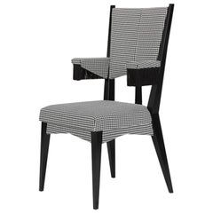 Contemporary Elbow Chair in Black and White Dedar Fabric Embroidered with Rose
