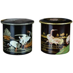 Tin Boxes with Flamingo and Cranes, Oriental Style, Early 20th Century