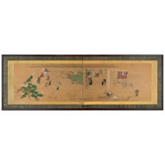 Japanese Two-Panel Screen with Scenes at the Pleasure Quarters, 18th Century