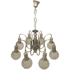 Art Deco Spider Ceiling Lamp with Eight Cut Glass Balls