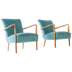 Pair of Turquoise Velvet Armchairs Mod. 401 by Ufficio Tecnico Cassina, 1940s