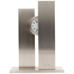 French Sculptural circa 1970s Stainless Steel Nycthemeral Clock by Michel Fleury