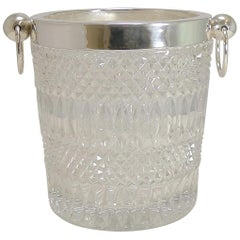 Vintage 1960s Crystal and Silver Plate Wine Cooler / Champagne Bucket