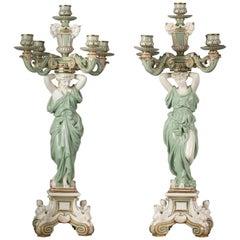 Pair of English Porcelain Five-Light Candelabra, Minton, circa 1880