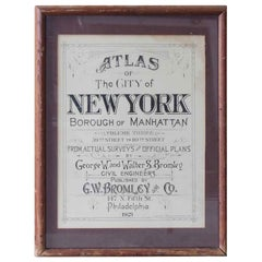 1921 Framed Borough of Manhattan Atlas Title Page