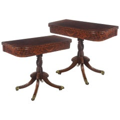 Pair of Mahogany and Satinwood Inlaid Tea and Cards Tables