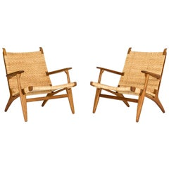 "Pair of Midcentury ""CH 27"" Lounge Chairs by Hans J. Wegner"