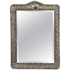 Silver Filigree Dressing Table Mirror Hallmarked Birmingham, 1901