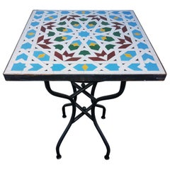 Square Moroccan Mosaic Side Table-Choice of High or Low Base