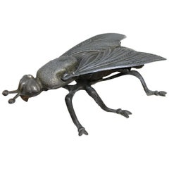 Vintage Metal Fly Ashtray, Fly Figurine, Mid-20th Century