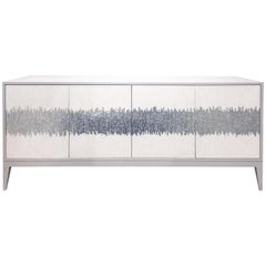 Customizable Gray Milano Buffet in White/Silver Wave Glass Mosaic by Ercole Home
