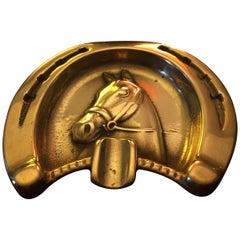 Adnet Style Horse Gilt Bronze Ashtray, France, 1950s
