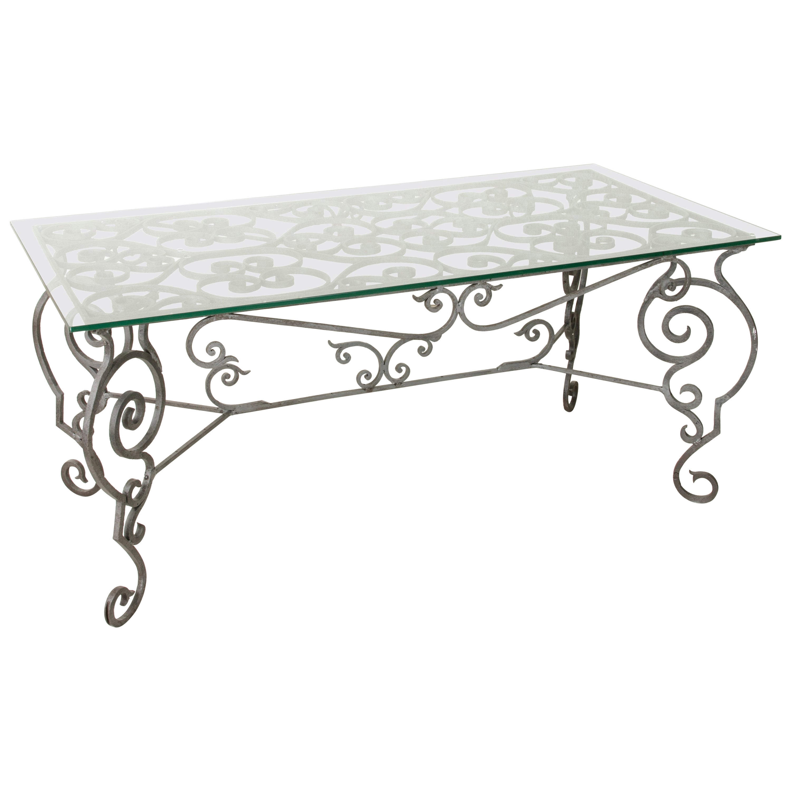 Large Early 20th Century Hand Forged Iron Outdoor Garden Dining Table with Glass