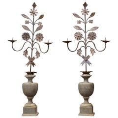 Pair of Italian Carved Painted Wood and Iron Two-Light Candle Holders
