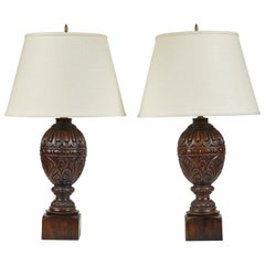 Pair of Early 20th Century Carved Oak Lamps