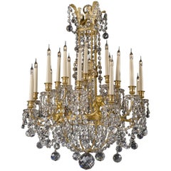 Louis XVI Style Moulded-Glass Twenty-Light Chandelier by Baccarat, circa 1890
