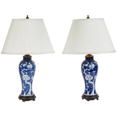 Vintage Pair of Blue and White Cherry Blossom Lamps