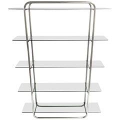 Vintage Chrome Free Standing Wall Unit, 1970s