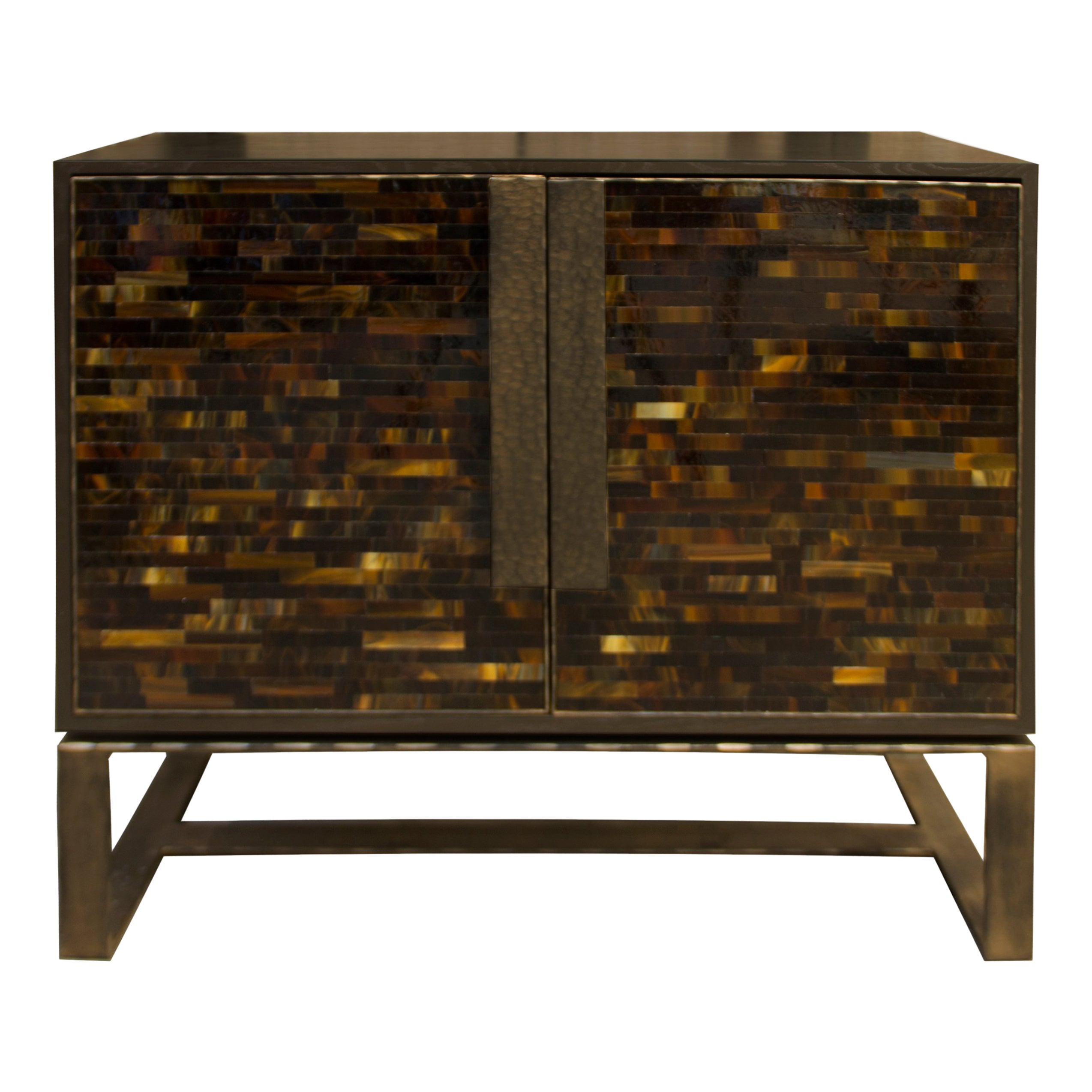 Customizable Chelsea Brown Glass Mosaic Credenza with Metal Base by Ercole Home