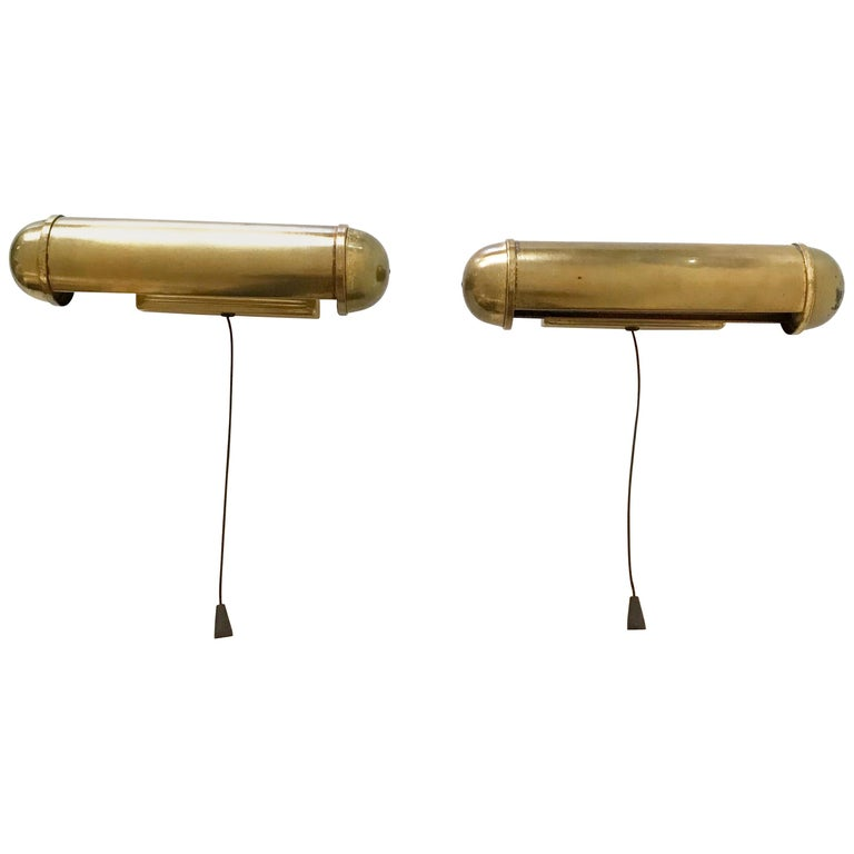 Set of Two Art Deco Bauhaus Brass Wall Lamps or Sconces, Germany, 1930s