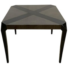 Wonderful Mid-Century Modern Palm Wood & Ebony Black Lacquer Square Card Table